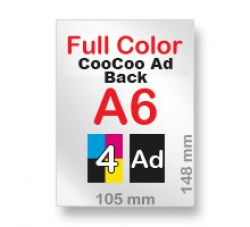 A6 Full Colour Front and CooCoo ad on Back
